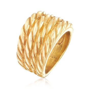 Italian 14kt Yellow Gold Four-Row Roped Ring