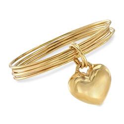 Italian Andiamo 14kt Yellow Gold Heart Charm Multi-Bangle Bracelet, , default