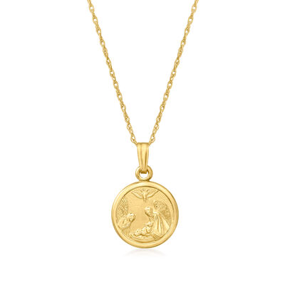 Child's 14kt Yellow Gold Guardian Angel Pendant Necklace