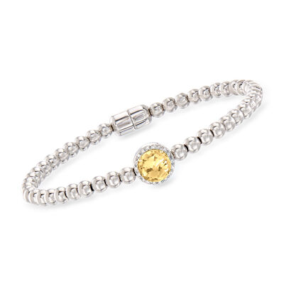 1.10 Carat Citrine Beaded Bracelet in Sterling Silver with Magnetic Clasp