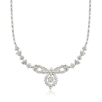 C. 1990 Vintage 5.50 ct. t.w. Diamond Drop Necklace in 18kt White Gold, , default