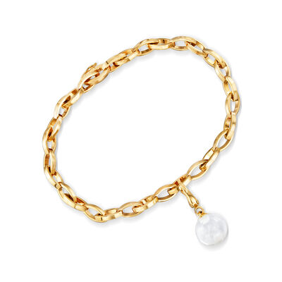 C. 1990 Vintage Baccarat Glass Ball Charm Bracelet in 18kt Yellow Gold