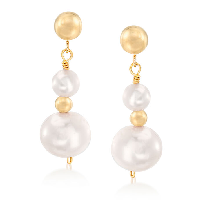 5-9mm Cultured Pearl Drop Earrings in 14kt Yellow Gold