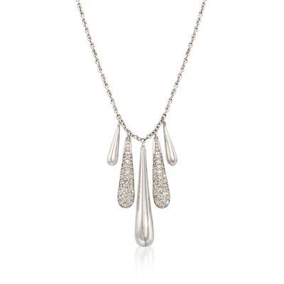 .29 ct. t.w. Diamond Teardrop Necklace in Sterling Silver, , default