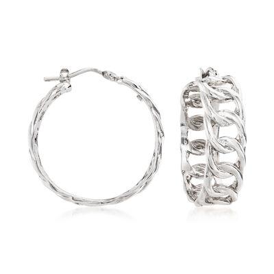 Italian Sterling Silver Curb-Link Hoop Earrings
