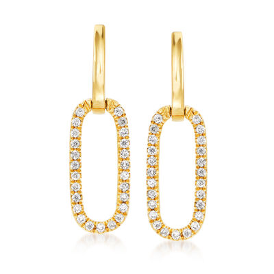 .15 ct. t.w. Diamond Paper Clip Link Drop Earrings in 14kt Yellow Gold