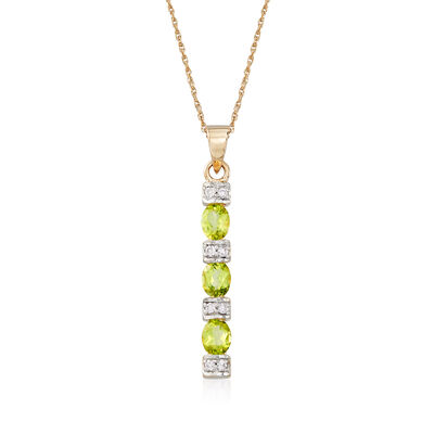 .90 ct. t.w. Peridot and .11 ct. t.w. Diamond Linear Pendant Necklace in 14kt Yellow Gold, , default