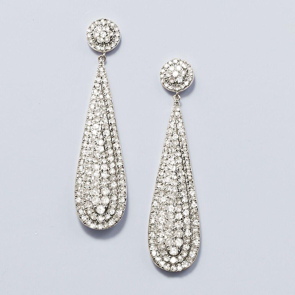 T W Diamond Teardrop Earrings In Sterling Silver Default