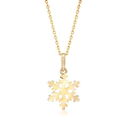 18kt Yellow Gold Snowflake Pendant Necklace, , default