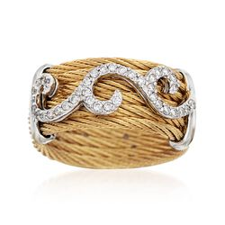 "ALOR ""Classique"" .32 ct. t.w. Diamond Yellow Cable Ring With 18kt White Gold. Size 7, , default"