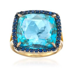 15.00 Carat Blue Topaz and .50 ct. t.w. Sapphire Ring in 14kt Gold Over Sterling. Size 5, , default