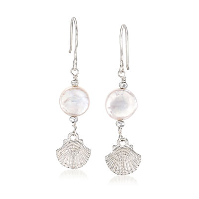 12mm Cultured Pearl and Hematite Seashell Drop Earrings in Sterling Silver, , default