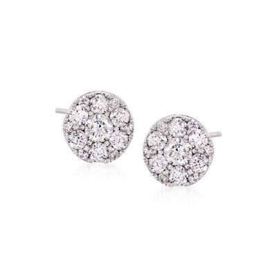 .50 ct. t.w. Diamond Cluster Studs in 14kt White Gold