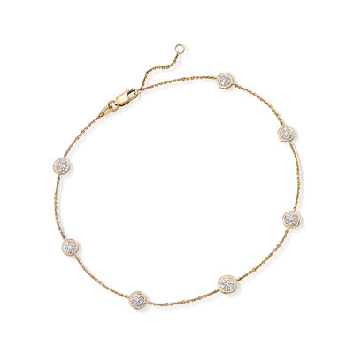 .25 ct. t.w. Pave Diamond Station Anklet in 14kt Yellow Gold, , default