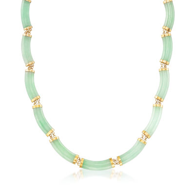 C. 1980 Vintage Jade Station Necklace in 14kt Yellow Gold, , default