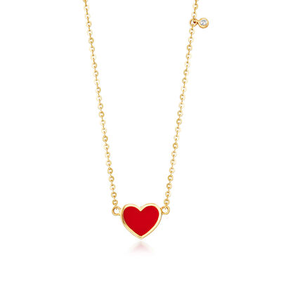 Child's Enamel Heart Necklace in 14kt Yellow Gold with CZ Accent, , default