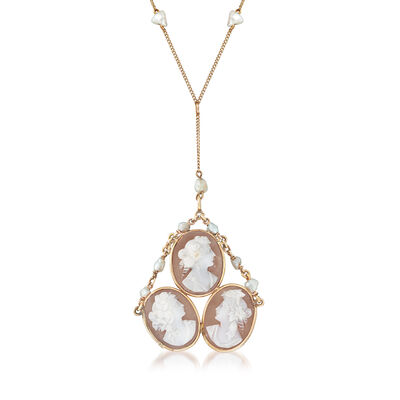 C. 1940 Vintage 4x5mm Cultured Pearl and Pink Shell Triple-Cameo Station Drop Necklace in 10kt Yellow Gold