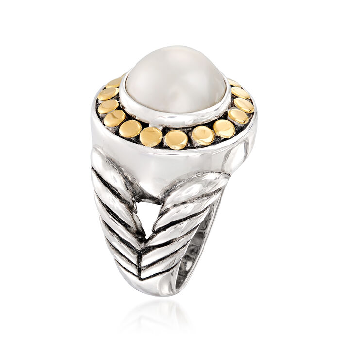 11-12mm Cultured Mabe Pearl Ring in 18kt Yellow Gold and Sterling Silver