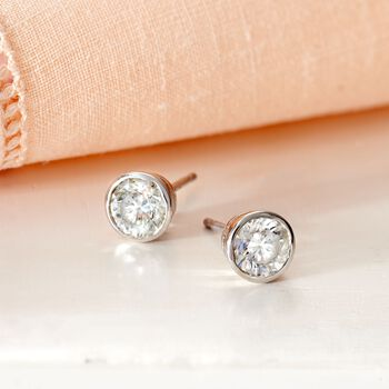 1.00 ct. t.w. Bezel-Set Diamond Stud Earrings in 14kt White Gold, , default