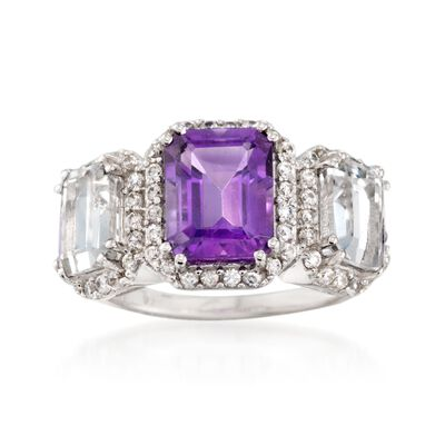 2.20 Carat Amethyst and .90 ct. t.w. White Topaz Ring with Rock Crystal in Sterling Silver, , default