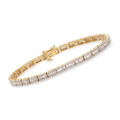 2.65 ct. t.w. Diamond Bracelet in 18kt Gold Over Sterling, , default