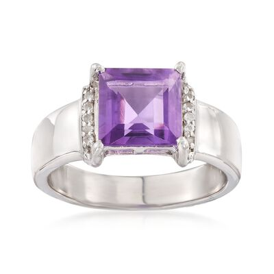 2.30 Carat Amethyst Ring with White Topaz Accents in Sterling Silver, , default