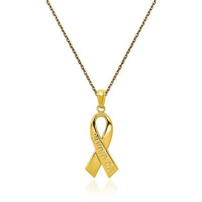 "14kt Yellow Gold Breast Cancer ""Survivor"" Pendant Necklace. 18"", , default"