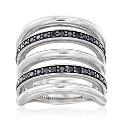 Italian .80 ct. t.w. Black Spinel Multi-Row Ring in Sterling Silver, , default