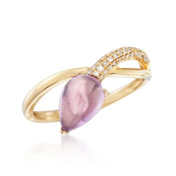 1.30 Carat Amethyst and .13 ct. t.w. Diamond Ring in 14kt Yellow Gold, , default