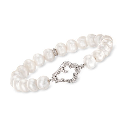 8-8.5mm Cultured Pearl and .13 ct. t.w. Diamond Bracelet