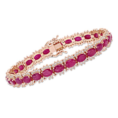 16.00 ct. t.w. Ruby and 2.20 ct. t.w. Diamond Tennis Bracelet in 14kt Rose Gold, , default