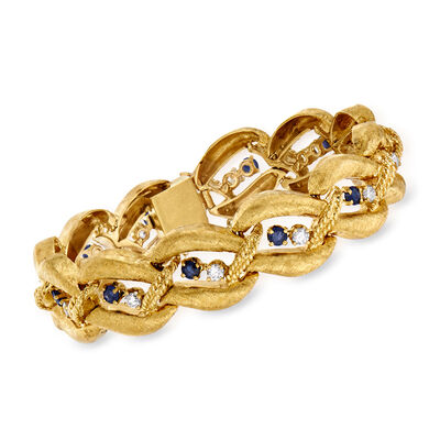 C. 1970 Vintage 2.00 ct. t.w. Sapphire and 1.20 ct. t.w. Diamond Link Bracelet in 14kt Yellow Gold
