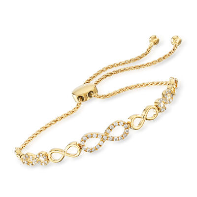 .50 ct. t.w. Diamond Infinity Bolo Bracelet in 18kt Gold Over Sterling