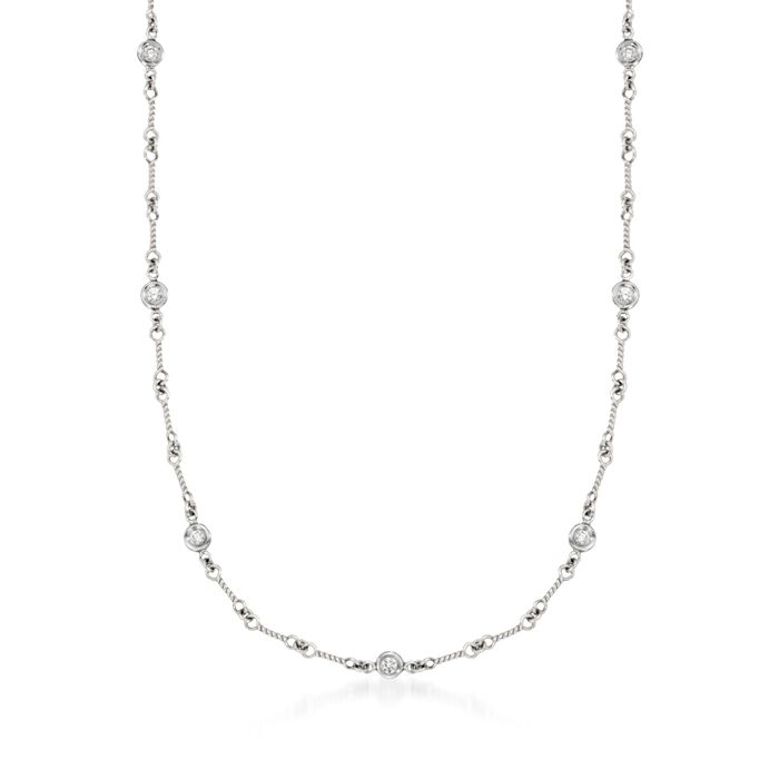 """Roberto Coin .28 ct. t.w. Diamond Twist Link Necklace in 18kt White Gold. 16"""", , default"""