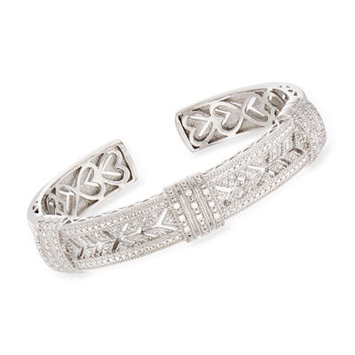 .25 ct. t.w. Diamond Vintage-Style Cuff Bracelet in Sterling Silver, , default