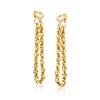 14kt Yellow Gold Rope Chain Front-Back Earrings, , default