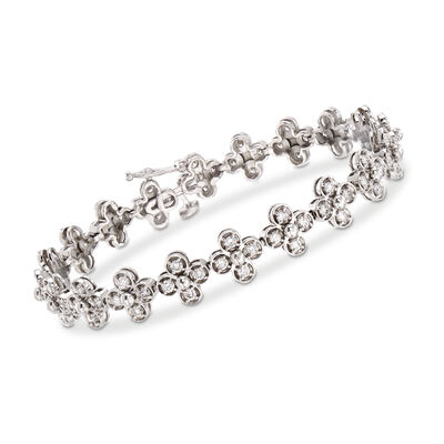 C. 1990 Vintage 2.50 ct. t.w. Diamond Flower Bracelet in 14kt White Gold, , default