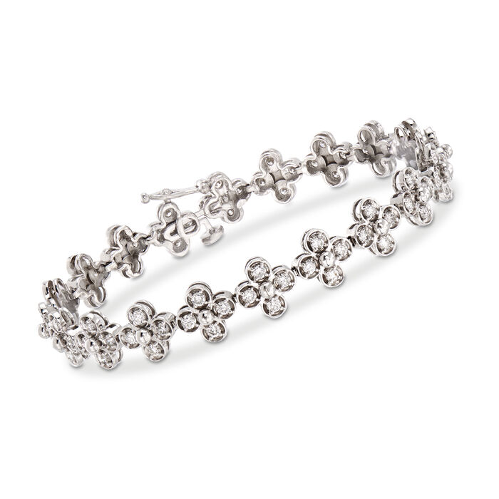 C. 1990 Vintage 2.50 ct. t.w. Diamond Flower Bracelet in 14kt White Gold