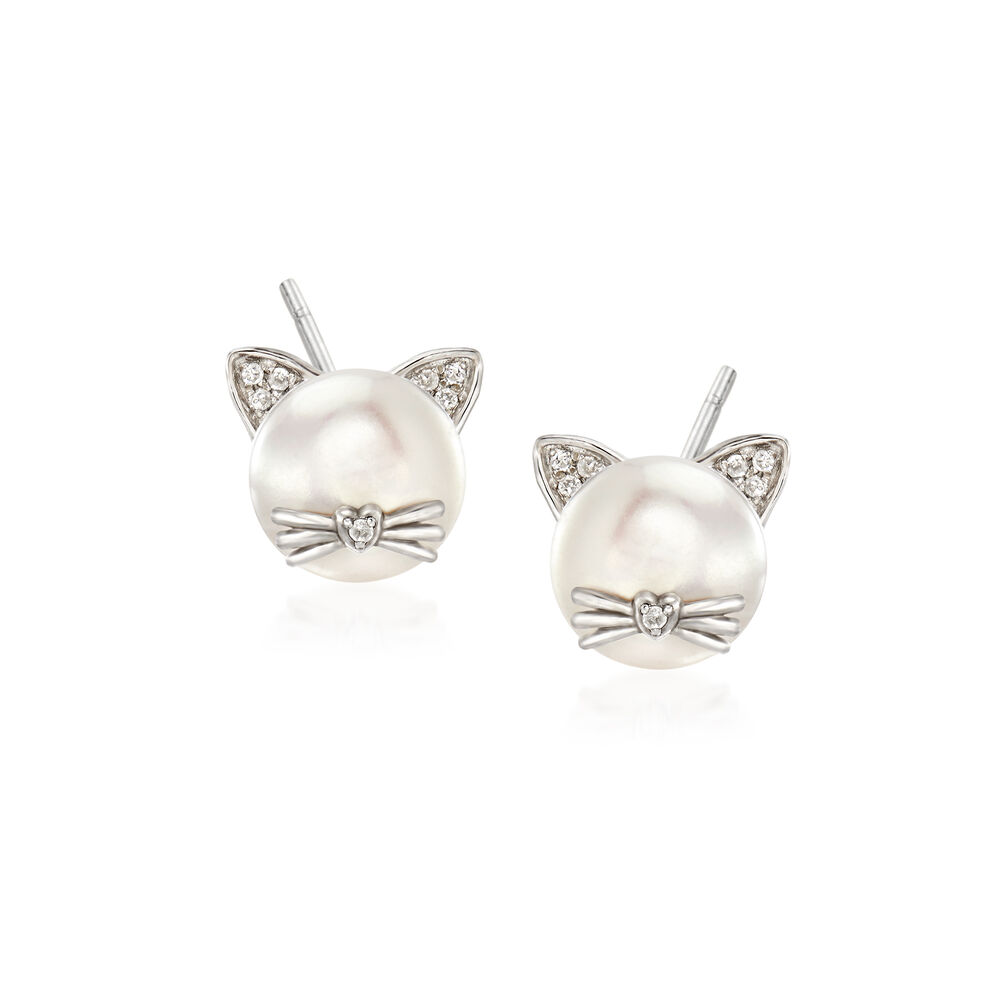 7a183a47c 8-8.5mm Cultured Pearl Cat Earrings with Diamond Accents in Sterling Silver,  ,