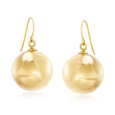 Italian Andiamo 14kt Yellow Gold Bead Drop Earrings, , default