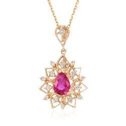 .80 Carat Ruby and .24 ct. t.w. Diamond Pendant Necklace in 14kt Yellow Gold, , default