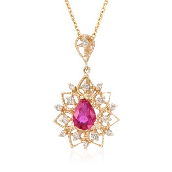 """.80 Carat Ruby and .24 ct. t.w. Diamond Pendant Necklace in 14kt Yellow Gold. 18"""", , default"""
