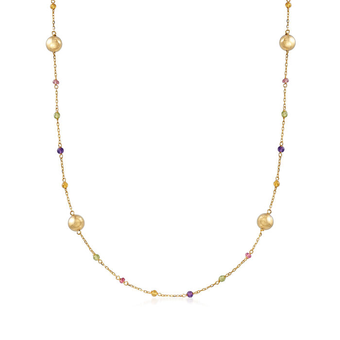 Italian 18.00 ct. t.w. Multicolored Tourmaline Station Necklace in 14kt Yellow Gold, , default