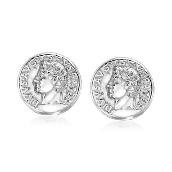 Italian Tri-Colored Sterling Silver Ancient Roman Coin Jewelry Set: Three Pairs of Stud Earrings