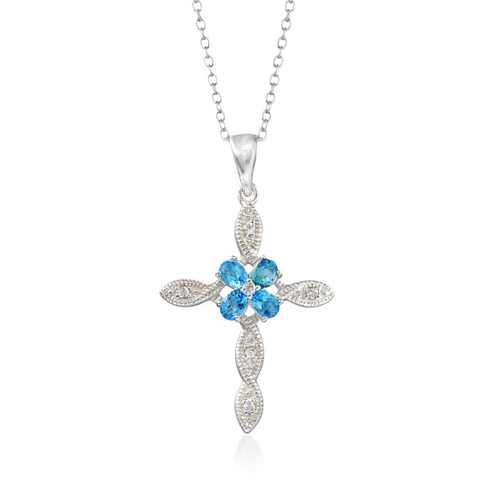 """2.56 ct. t.w. Blue and White Topaz Cross Pendant Necklace in Sterling Silver. 18"""", , default"""