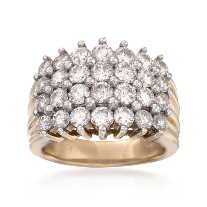 3.00 ct. t.w. Diamond Four-Row Ring in 14kt Yellow Gold, , default
