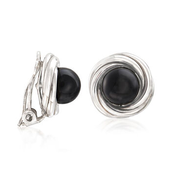 8mm Black Onyx Clip-On Earrings in Sterling Silver