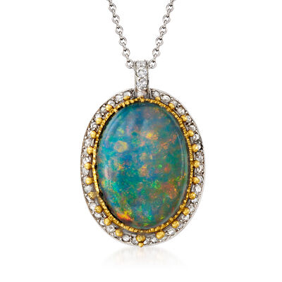 C. 1975 Vintage Black Opal and .40 ct. t.w. Diamond Pendant Necklace in Platinum and 18kt Yellow Gold