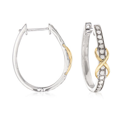 .50 ct. t.w. Diamond Infinity Hoop Earrings in Sterling Silver with 14kt Yellow Gold, , default