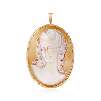 C. 1980 Vintage Pink Shell Cameo Pin/Pendant in 14kt Yellow Gold